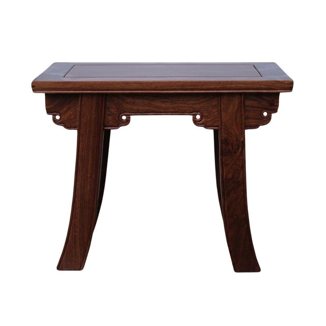Quality Handmade Ming Style Huali Rosewood Rectangular Stool For Sale