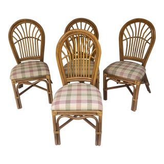 Boho Modern Bamboo Dining Chairs- Set of Four For Sale