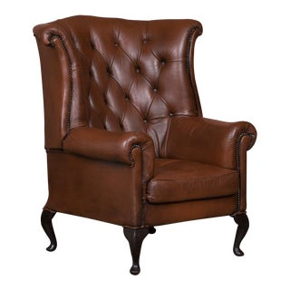 Early 20th Century Danish Brown Leather Wing Back Chair For Sale