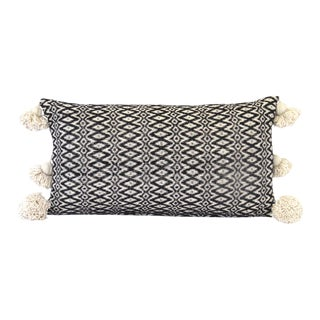 Boho Chic Black and Ecru Woven Pillow For Sale