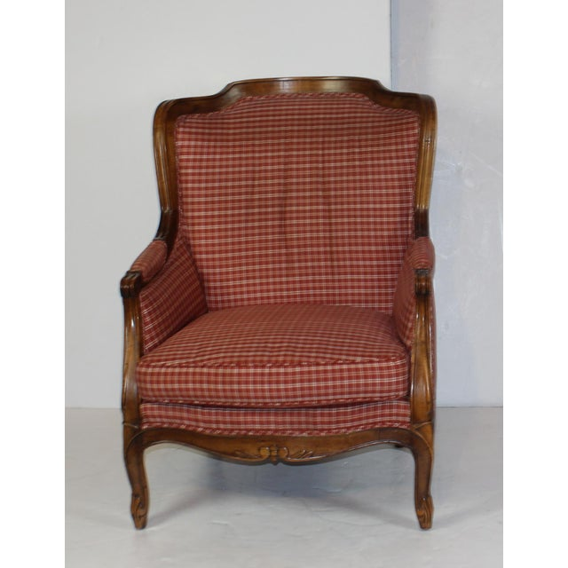 Louis XV Style Wing Back Chair & Ottoman - Image 3 of 6