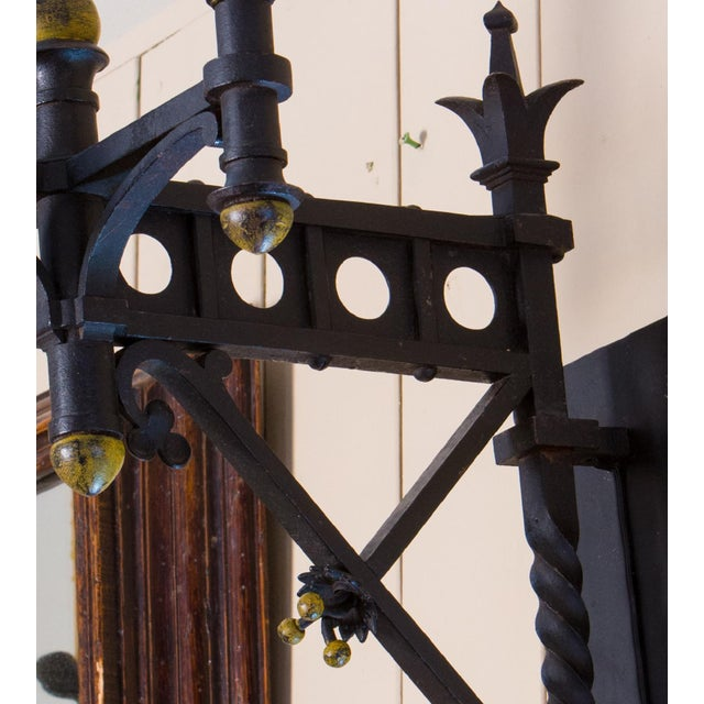 Pair Monumental Iron Neo-Gothic French Sconces, circa 1910 For Sale - Image 5 of 7