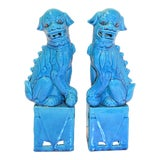 Image of 1980s Chinese Turquoise Glazed Large Foo Dog Figurines - a Pair For Sale