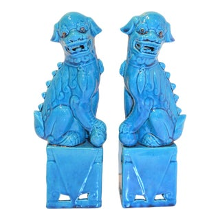 1980s Chinese Turquoise Glazed Large Foo Dog Figurines - a Pair For Sale
