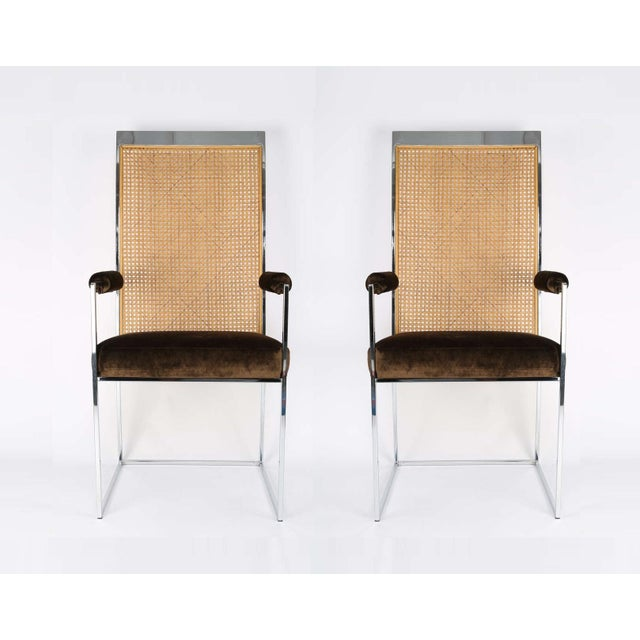 Mid-Century Modern Six High Back Cane Dining Chairs by Milo Baughman for Thayer Coggin For Sale - Image 3 of 11