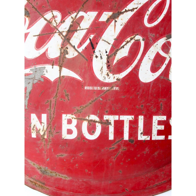 Metal 1950s Coca Cola Sign For Sale - Image 7 of 8