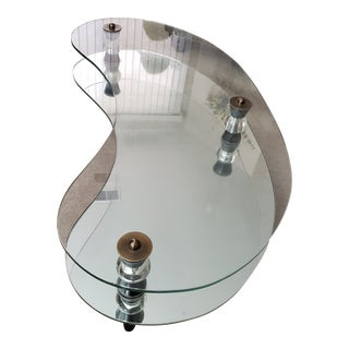 Semon Bache Mid-Century Glass and Mirror Cocktail Table For Sale