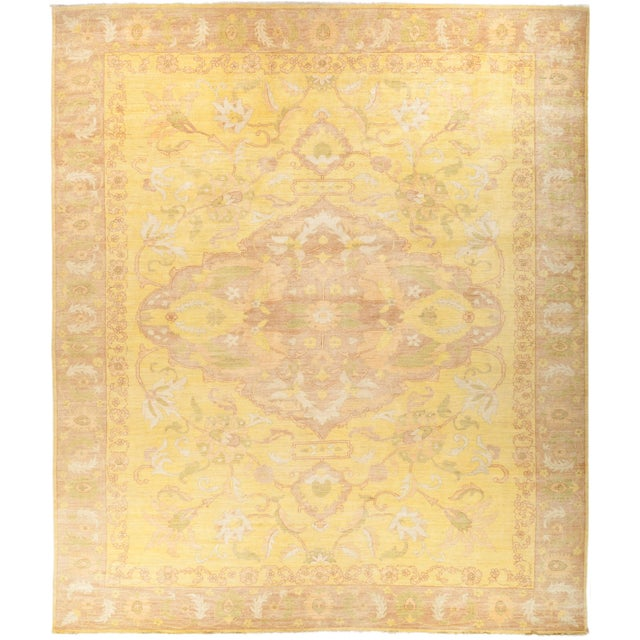 """Oushak Hand Knotted Area Rug - 12' 5"""" X 14' 6"""" For Sale - Image 4 of 4"""