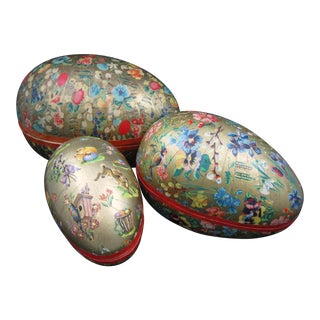 German Papier-Mâché Egg Shaped Candy Container Holiday Ornaments
