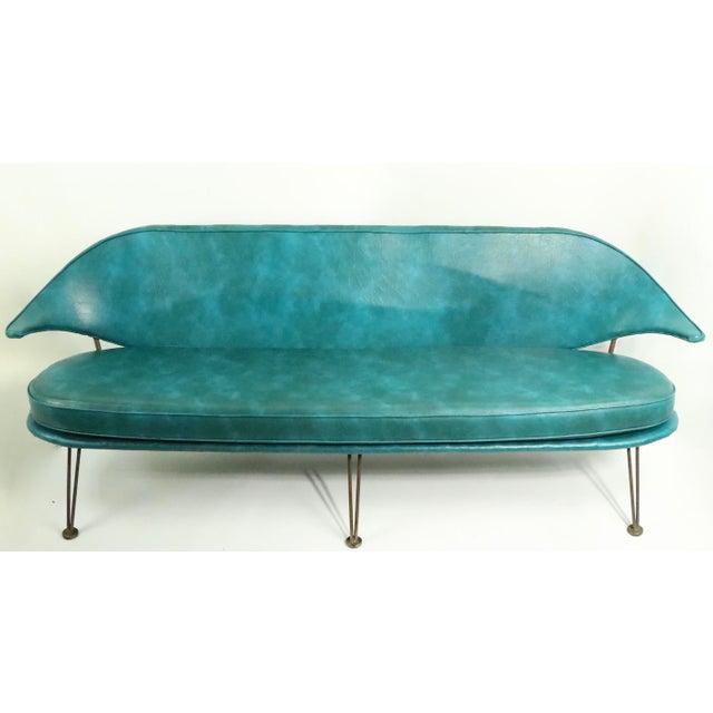 Mid-Century Modern Mid Century Wrought Iron and Vinyl Sofa Settee Loveseat For Sale - Image 3 of 11
