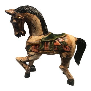 1950s Hand & Carved Painted Wooden Indonesian Horse For Sale