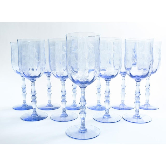 Contemporary Vintage Etched Crystal Wine / Water Glassware Set For Sale - Image 3 of 13