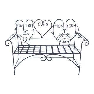 1960s Retro Modern Whimsical Figurative Steel Bench For Sale