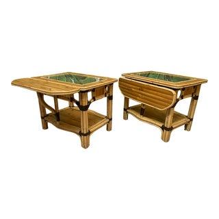 Split Reed Rattan Drop Leaf End Tables, a Pair For Sale