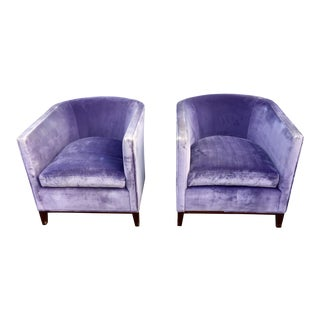 Lilac Wine Two-Tone 'Saki Cup' Velvet Club Chairs