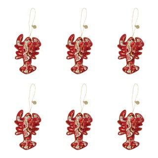 Doing Goods Holiday Ornaments Looky Lobster Set - Set of 6 For Sale