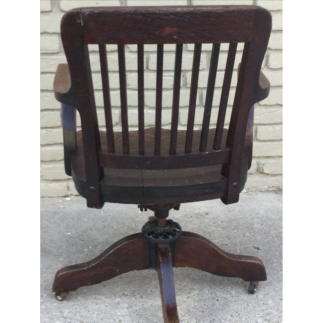 Milwaukee Chair Company Oak Office Chair For Sale - Image 4 of 7