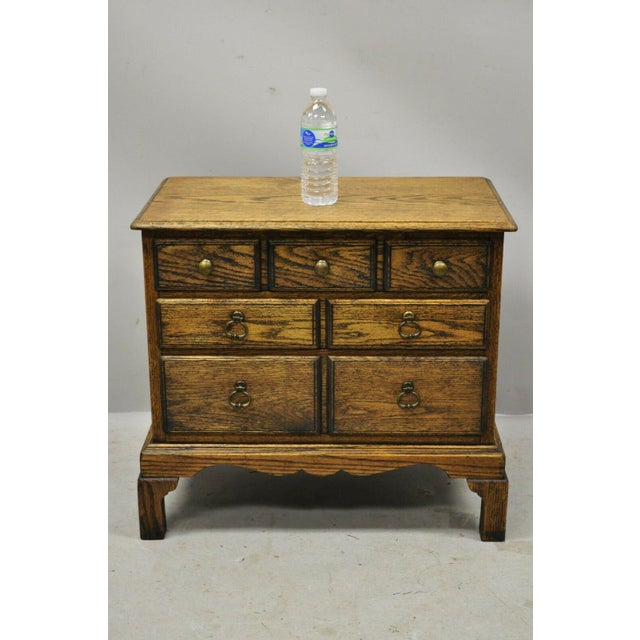 Vintage English Colonial Miniature Oak Wood Small Campaign Chest Side Table For Sale - Image 9 of 10