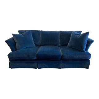 Large Scale Blue Velvet Sofa For Sale