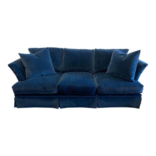 Large Scale Blue Velvet Sofa For Sale