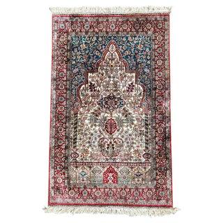 Vintage Mid-Century Hereke Pure Silk Signed Turkish Prayer Rug - 3″ × 4″ For Sale