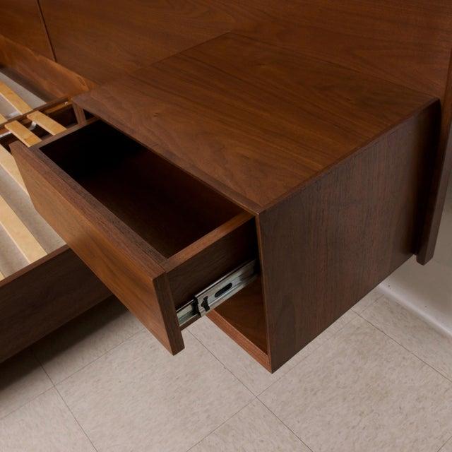 Modern Walnut King Size Platform Bed With Floating Nightstands For Sale - Image 9 of 11