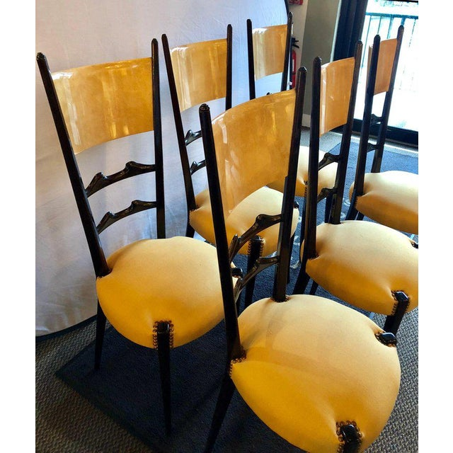 Set of Six Italian Aldo Tura Side Dining Chairs in Goatskin and Parchment For Sale - Image 11 of 13