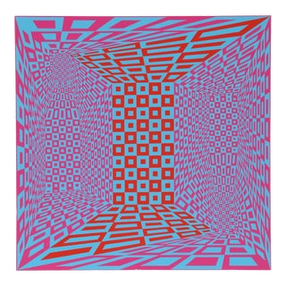 "1970s Roy Ahlgren, ""Concatenation"", Op Art Screenprint For Sale"