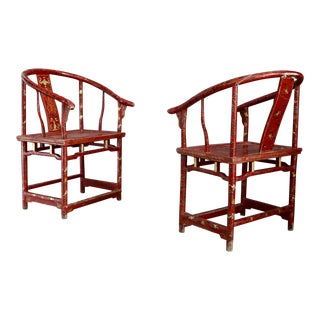Pair of Chinese Laquared Red Wood and Gold Laquared, of 18th For Sale