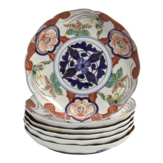 Antique Imari Japanese Pottery Plates - Set of 6 For Sale