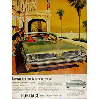 1960s Pontiac V8 Matted Advertisement