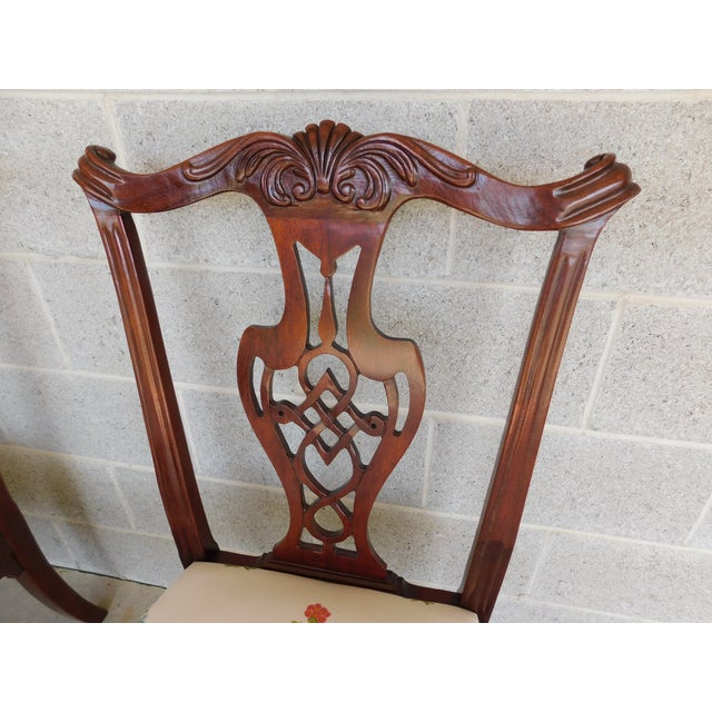 Features Solid Mahogany Construction, Pierced Backs, Chippendale Style, Ball & Claw Feet Approx 20 years old. ( Re-...