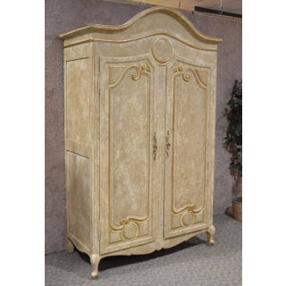 1980s Neoclassical Large 2 Door Distressed Crackle Finish Armoire Preview