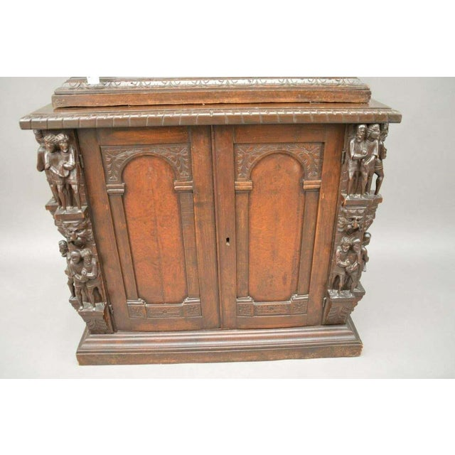 "Early 18th Century Antique Heavily Carved Continental Court Two Piece 65"" Cabinet/Cupboard For Sale - Image 5 of 13"