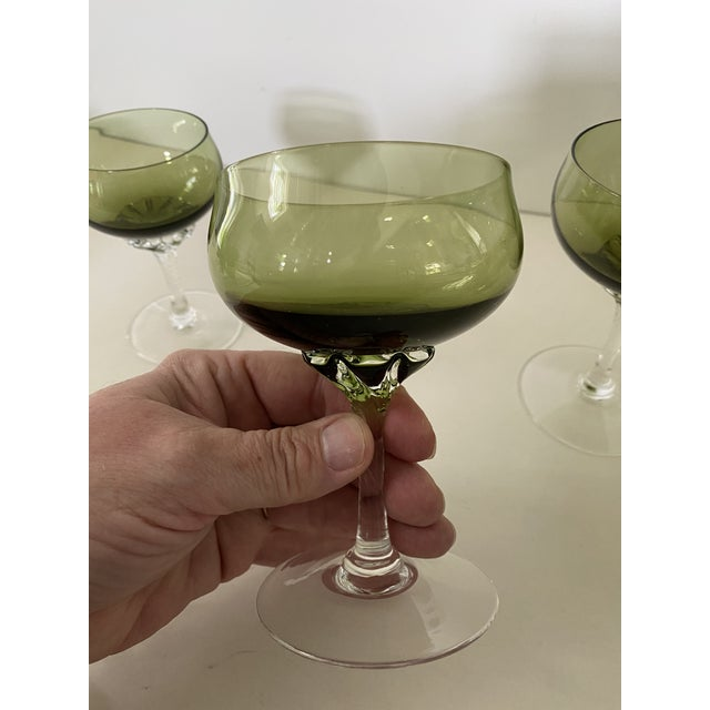 Early 20th Century Green Twisted Stem Coups and After-Dinner Crystal Glasses - Set of 12 For Sale - Image 5 of 7