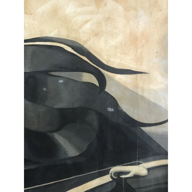 Canvas Large Scale 1980s Painting in Style of Tamara De Lempicka For Sale - Image 7 of 9