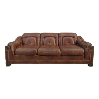 Kroehler Tufted Leather and Brass Sofa For Sale