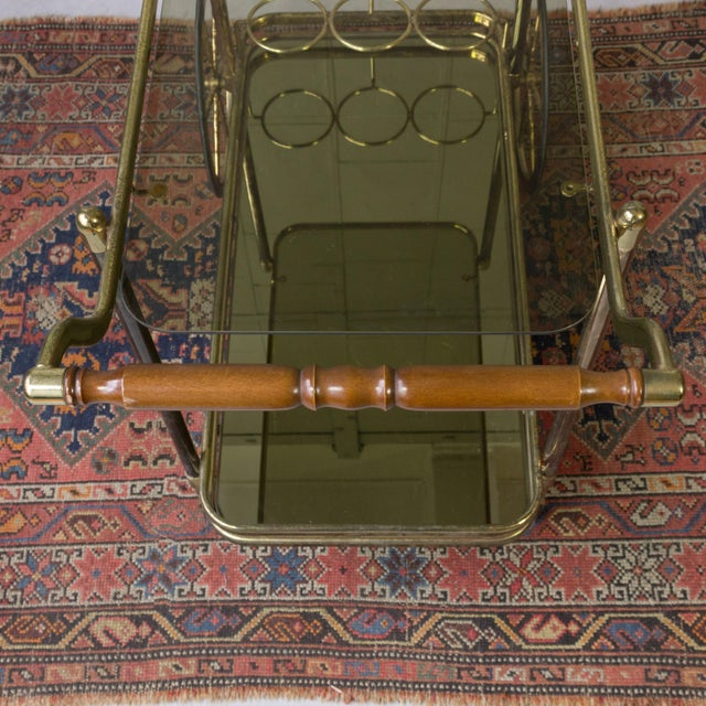 Brass Bar Cart With Glass Shelves - Image 10 of 11