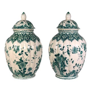 Nove Italy Ceramic Hand Painted Green Covered Urns or Vases For Sale
