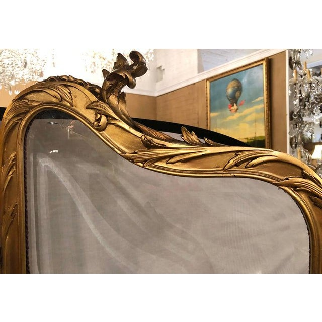 19th Century Louis Xv, Giltwood Three Fold Screen With Original Glass Panels For Sale - Image 9 of 13