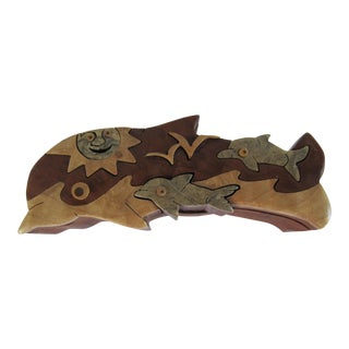 Richard Rothbard Wooden Dolphin Puzzle Box For Sale