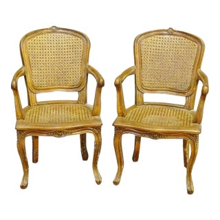 French Louis XV Child Sized Caned Armchairs, Circa 1930s - a Pair For Sale