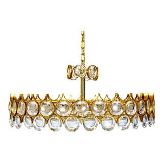 Large Circular Palwa Gilt Brass and Optical Lens Crystal Chandelier (2 Available) For Sale