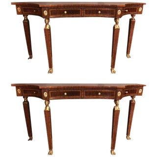 Russian Neoclassical Style Flame Mahogany Console or Sofa Tables - A Pair