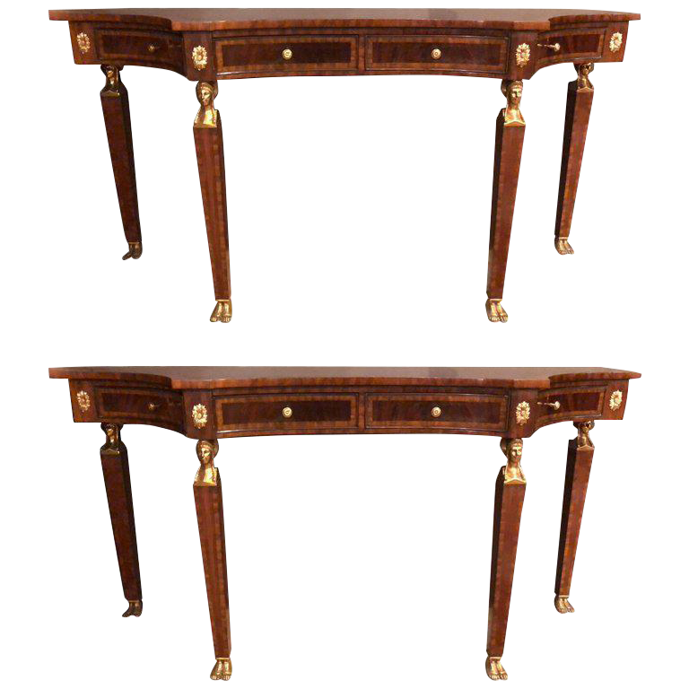 Russian Neoclassical Style Flame Mahogany Console Or Sofa Tables   A Pair