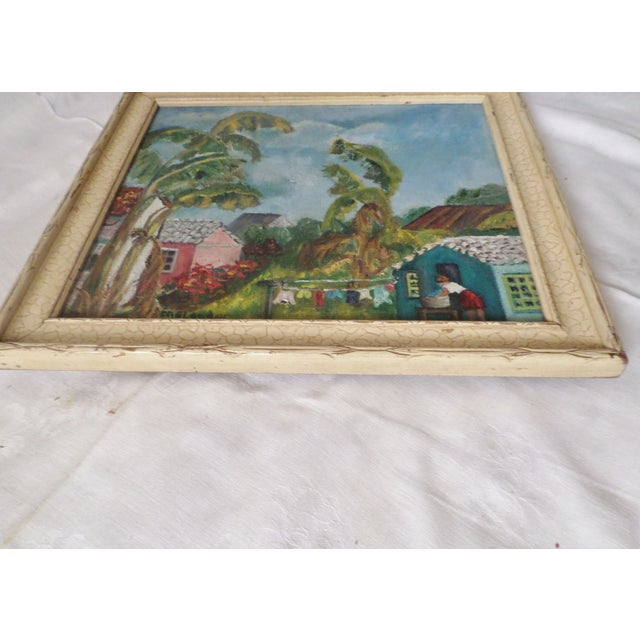 Mid-Century Island Scene Oil Painting For Sale - Image 10 of 12