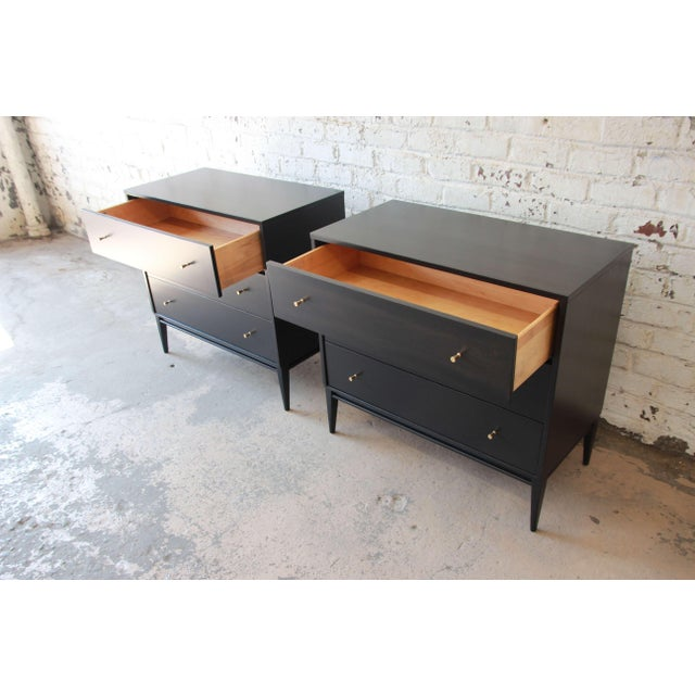 1950s Paul McCobb Planner Group Ebonized Three Drawer Bachelor Chests or Large Nightstands, Pair For Sale - Image 5 of 11