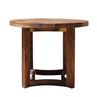 Chinese Oriental Brown Round Open Center Base Pedestal Table For Sale