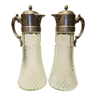 1900s Pewter and Crystal Cut Glass Pitchers - a Pair For Sale