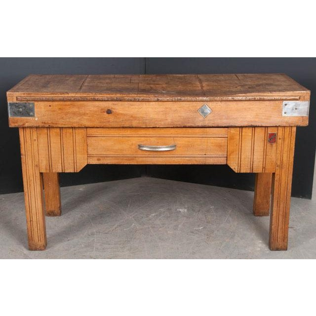 Brown French Early 20th Century Art Deco Pine Butcher Block For Sale - Image 8 of 12